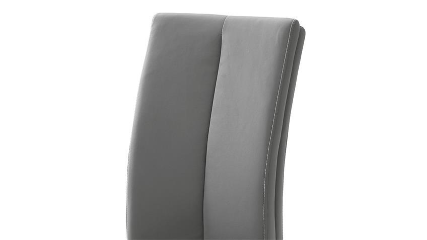 Stuhl 4er-Set PAULO 2 Esszimmerstuhl grau und Edelstahl