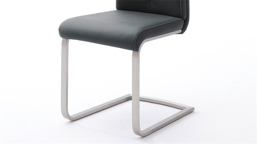Stuhl 4er-Set PAULO 2 Esszimmerstuhl schwarz und Edelstahl