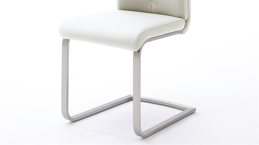 Stuhl 4er-Set PAULO 2 Esszimmerstuhl weiß und Edelstahl
