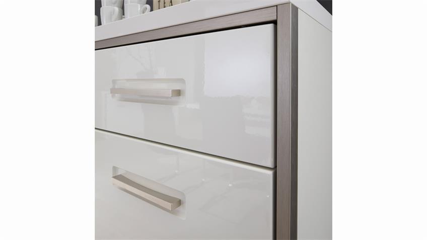 Sideboard TRENTO in Weiß Hochglanz mit Metallrahmen