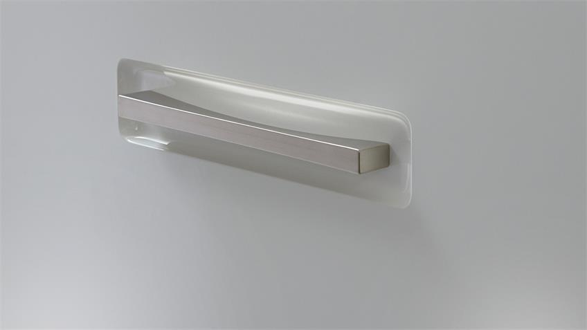 Highboard TRENTO Weiß Hochglanz und Absetzungen Grau