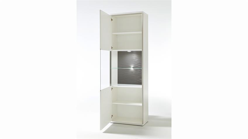 Vitrine TRENTO Weiß Hochglanz Absetzungen Grau B 64 cm