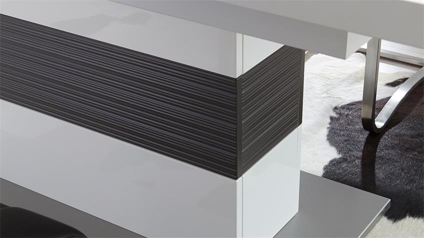 Esstisch TRENTO Weiß und Grau auziehbar 180-280x100 cm