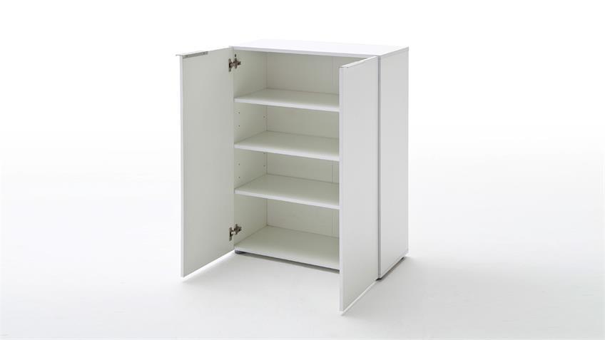 Garderobenset 1 VICENZA in weiß Hochglanz lackiert und Eiche