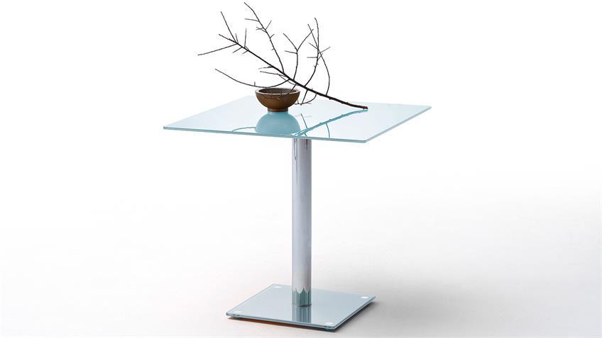 Tisch FIONS Esstisch in weiß lackiert und verchromt 80x80