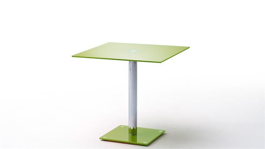 Tisch FIONS Esstisch in Apfel grün lackiert verchromt 80x80