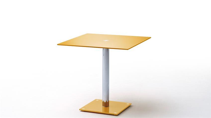 Tisch FIONS Esstisch in Curry gelb lackiert verchromt 80x80