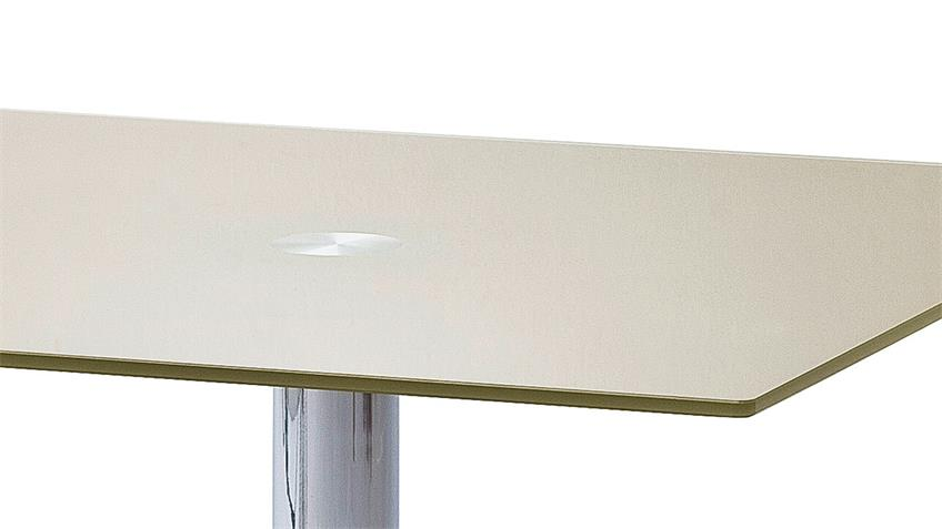 Tisch FIONS Esstisch in taupe lackiert verchromt 80x80