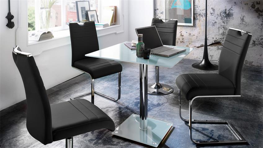 Tischgruppe SLASH FIONS Stuhl Tisch schwarz weiß chrom
