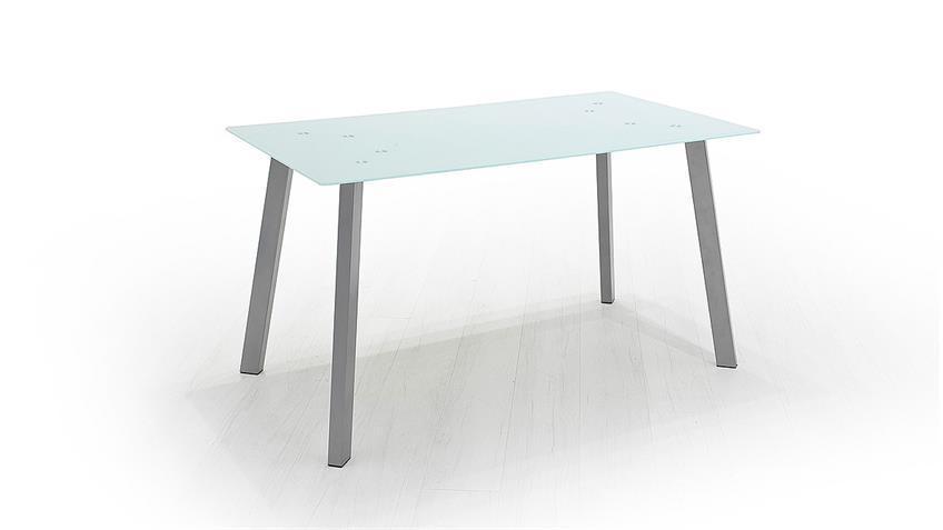 Tisch ZUMBA Esstisch Esszimmertisch weiß lackiert chrom 140