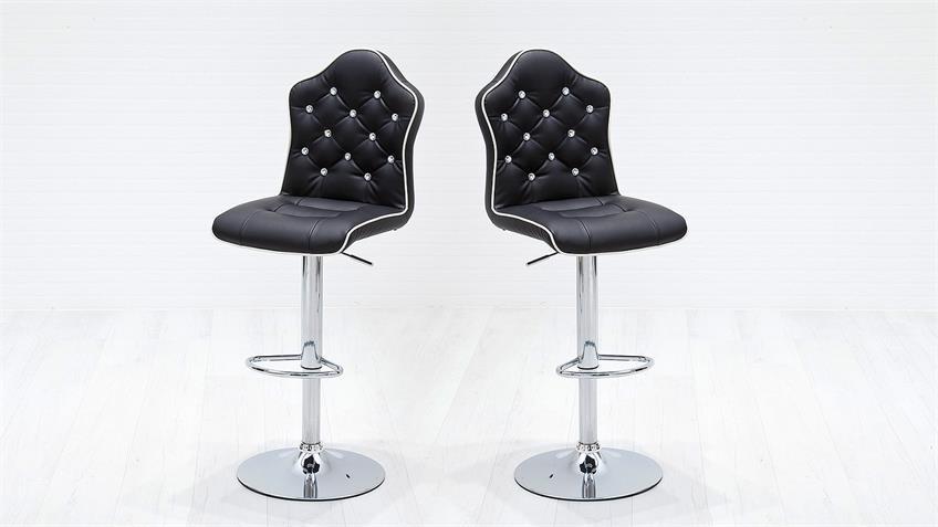 Barstuhl 2er Set DIAR Barhocker Stuhl schwarz chrom Diamant