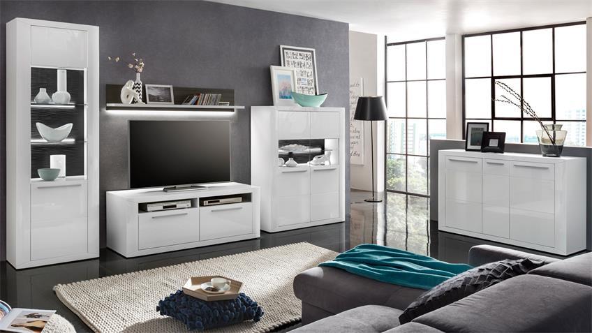 Wohnwand PADUA Anbauwand in weiß Hochglanz und grau