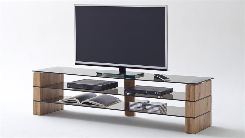 TV-Rack KARI TV-Board Lowboard in Eiche massiv Glas grau 140