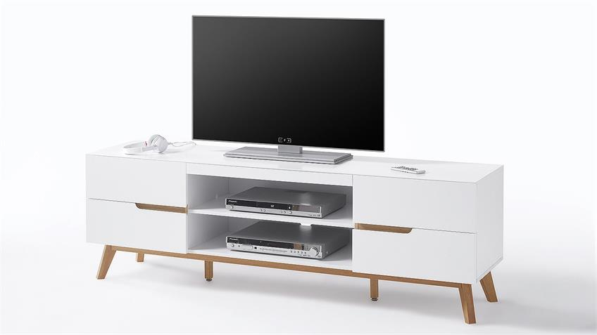 lowboard cervo tv board unterschrank in wei matt lack eiche. Black Bedroom Furniture Sets. Home Design Ideas