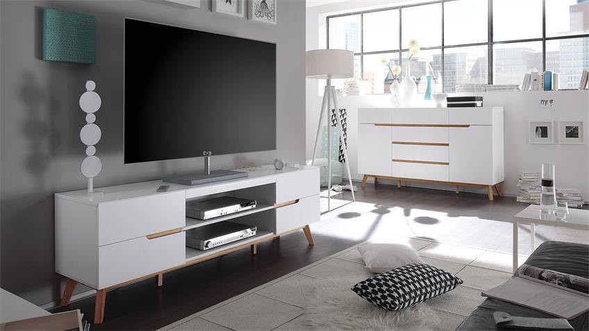 Lowboard CERVO TV-Board Unterschrank in weiß matt Lack Eiche