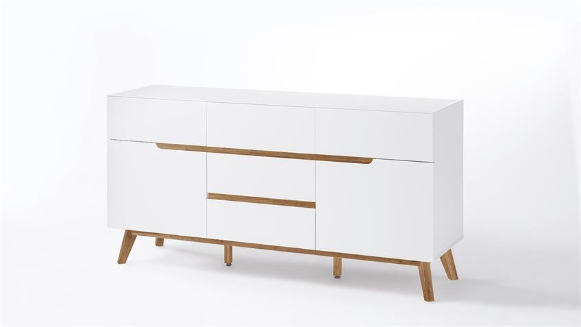 Sideboard cervo kommode anrichte in wei matt lack eiche for Kommode cervo