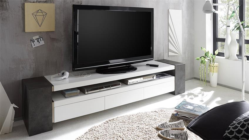 tv rack jule tv board lowboard wei matt lack und beton. Black Bedroom Furniture Sets. Home Design Ideas