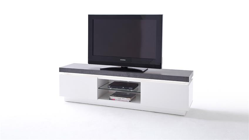 lowboard atlantas tv board in wei matt beton inkl led. Black Bedroom Furniture Sets. Home Design Ideas