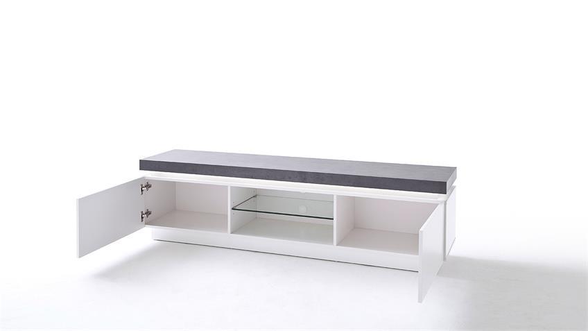 Lowboard ATLANTAS TV-Board in weiß matt beton inkl. LED