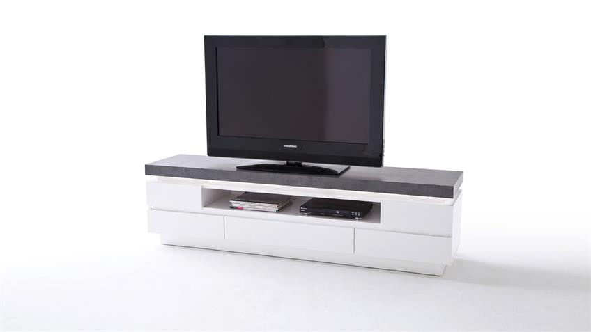 Lowboard ATLANTAS TV-Board in weiß matt und beton inkl. LED