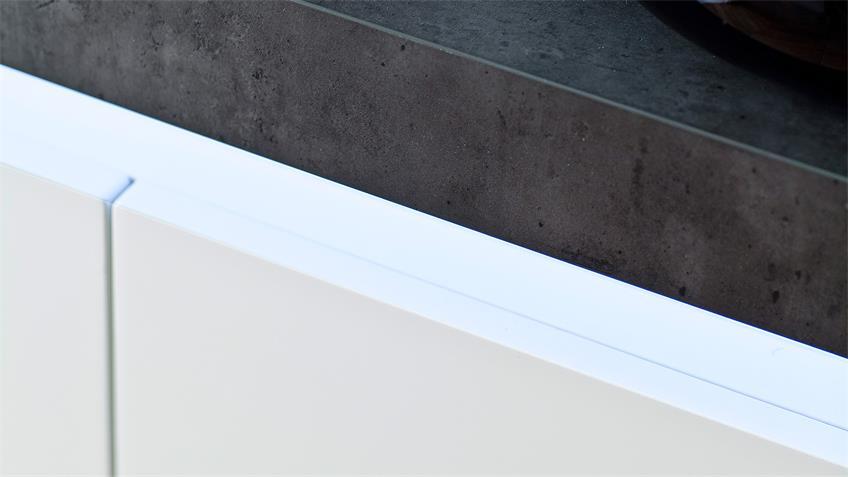 Sideboard 1 ATLANTAS Kommode weiß matt und beton inkl. LED
