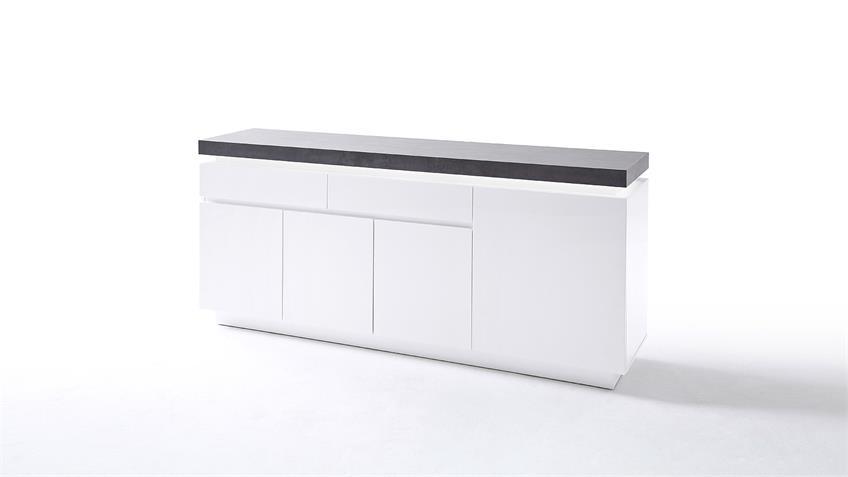 Sideboard 2 ATLANTAS Kommode weiß matt und beton inkl. LED