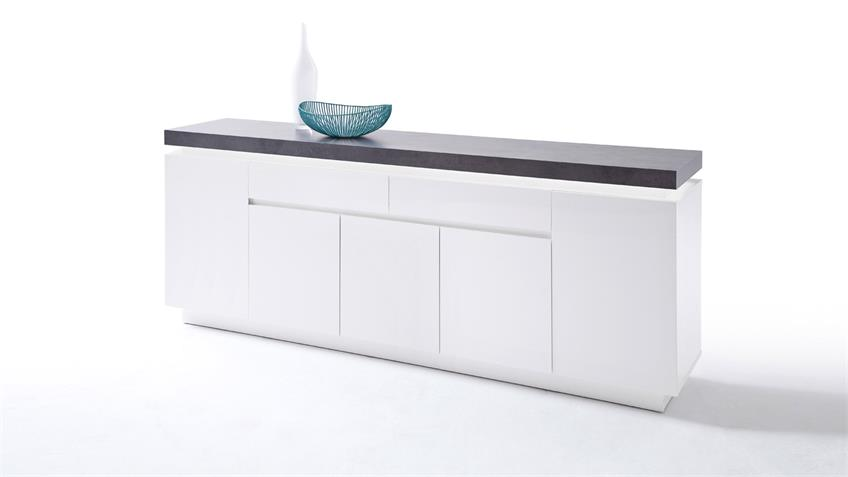 Sideboard 3 ATLANTAS Kommode weiß matt und beton inkl. LED