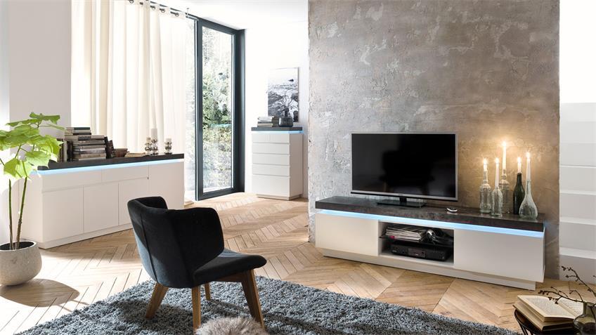 Kommode 2 ATLANTAS Sideboard weiß matt und beton inkl. LED