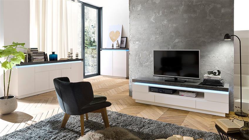 Kommode 3 ATLANTAS Sideboard weiß matt und beton inkl. LED