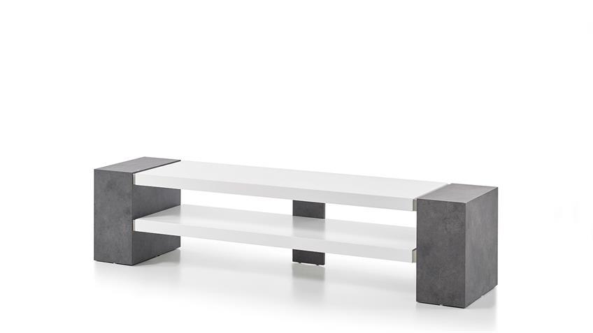 TV-Rack JANES TV-Board in weiß matt Lack und Beton grau