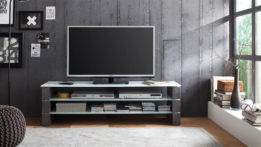 tv rack olivias tv board lowboard beton grau und glas wei. Black Bedroom Furniture Sets. Home Design Ideas
