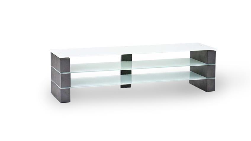 TV-Rack OLIVIAS TV-Board Lowboard Beton grau und Glas weiß