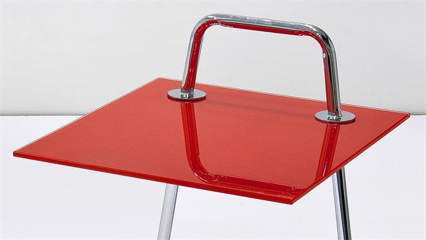 Beistelltisch ERIN Tisch Couchtisch mit Glas in rot und Chrom