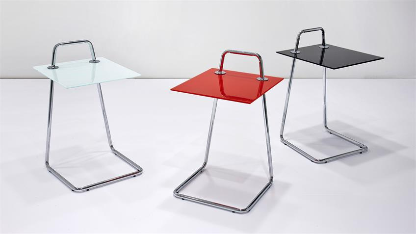 Beistelltisch ERIN Tisch Couchtisch Glas schwarz und Chrom