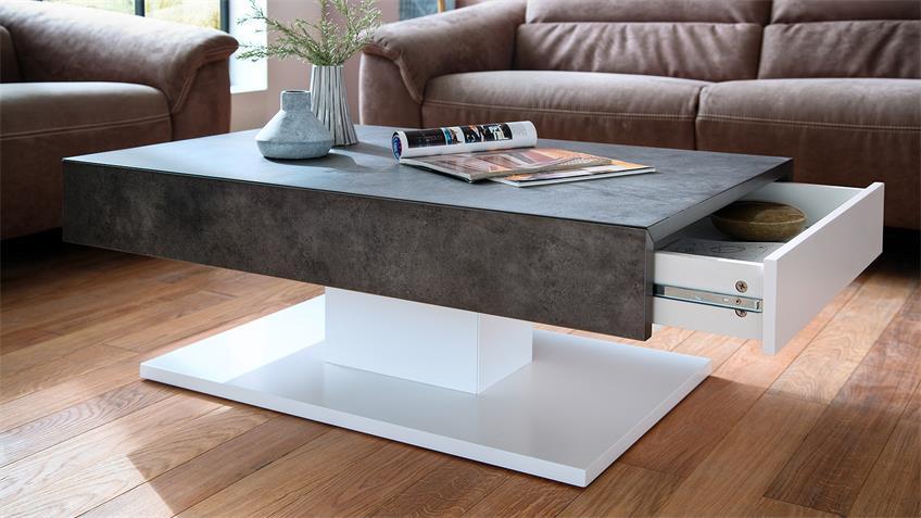 Couchtisch LANIA Beistelltisch Beton grau und weiß matt Lack