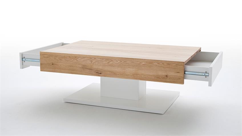 couchtisch lania beistelltisch in eiche und wei matt lack. Black Bedroom Furniture Sets. Home Design Ideas