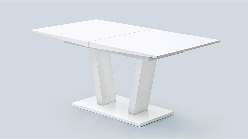 Esstisch TIRSO Tisch weiß Hochglanz Lack mit Synchronauszug