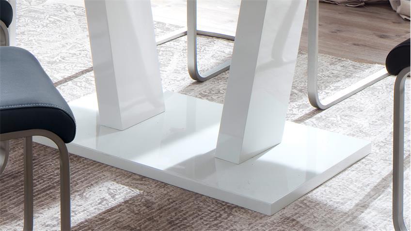 Esstisch TIRSO Säulentisch weiß Hochglanz Lack Synchronauszug 160-200