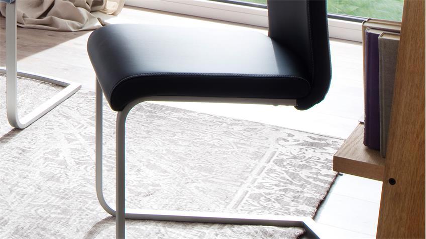 Tischgruppe TIRSO PAULO Essgruppe MDF weiß Hochglanz lackiert schwarz