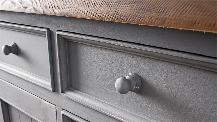Sideboard 2 BYRON Kiefer massiv in Antik grau Vintage braun