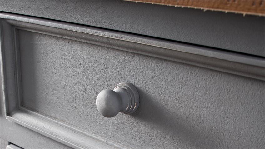 Sideboard 3 BYRON Kiefer massiv in Antik grau Vintage braun