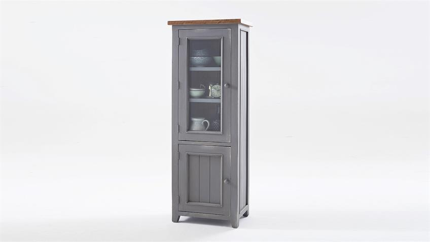 Vitrine links BYRON Kiefer massiv in Antik grau Vintage braun