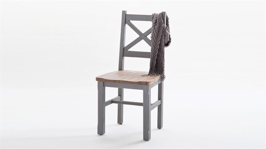 Stuhl 2er Set BYRON Kiefer massiv Antik grau Vintage braun