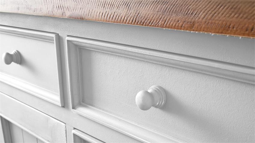 Sideboard 2 BYRON Kiefer massiv in weiß Vintage braun