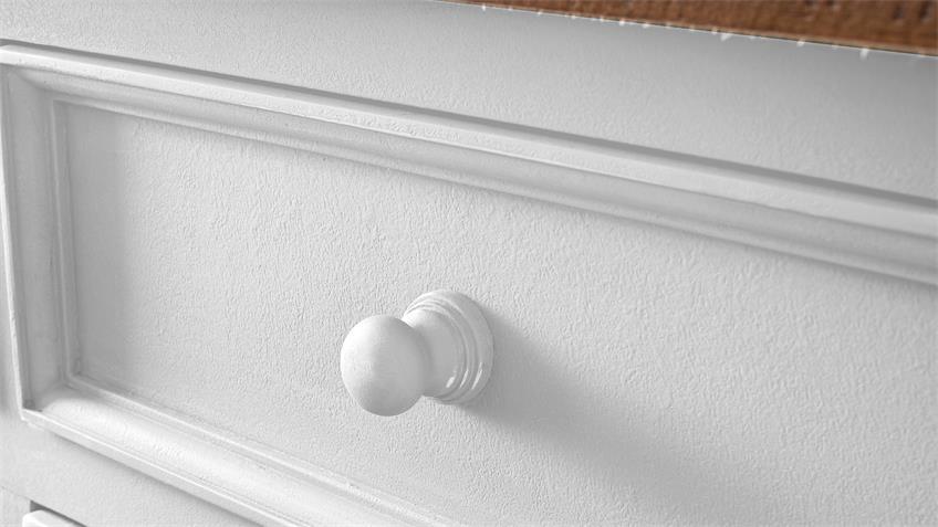 Sideboard 3 BYRON Kiefer massiv in weiß Vintage braun
