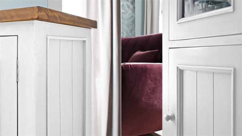 Vitrine rechts BYRON Kiefer massiv in weiß Vintage braun