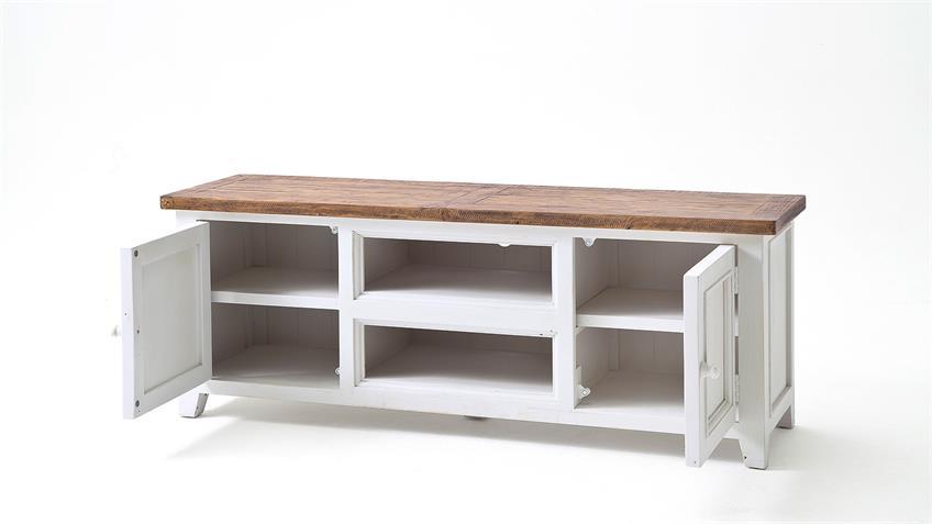 TV-Board BYRON Kiefer massiv weiß und Vintage braun 160