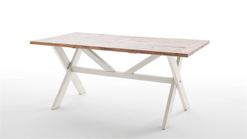 Esstisch BYRON Tisch Kiefer massiv weiß Vintage braun 180