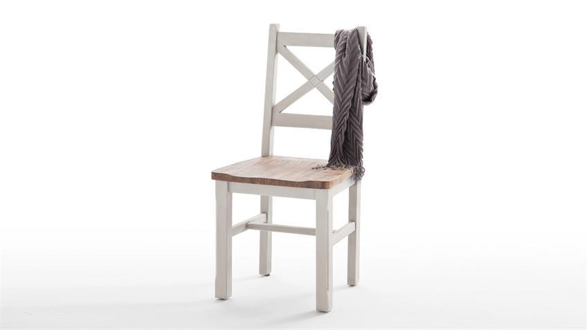 Stuhl 2er Set BYRON Kiefer massiv in weiß Vintage braun