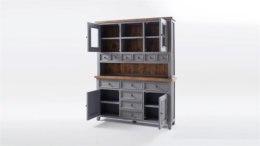 Buffet BYRON Kiefer massiv in Antik grau und Vintage braun